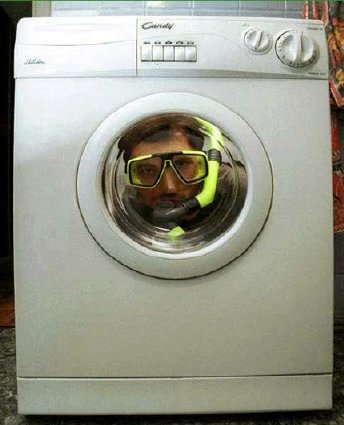 diver in washer
